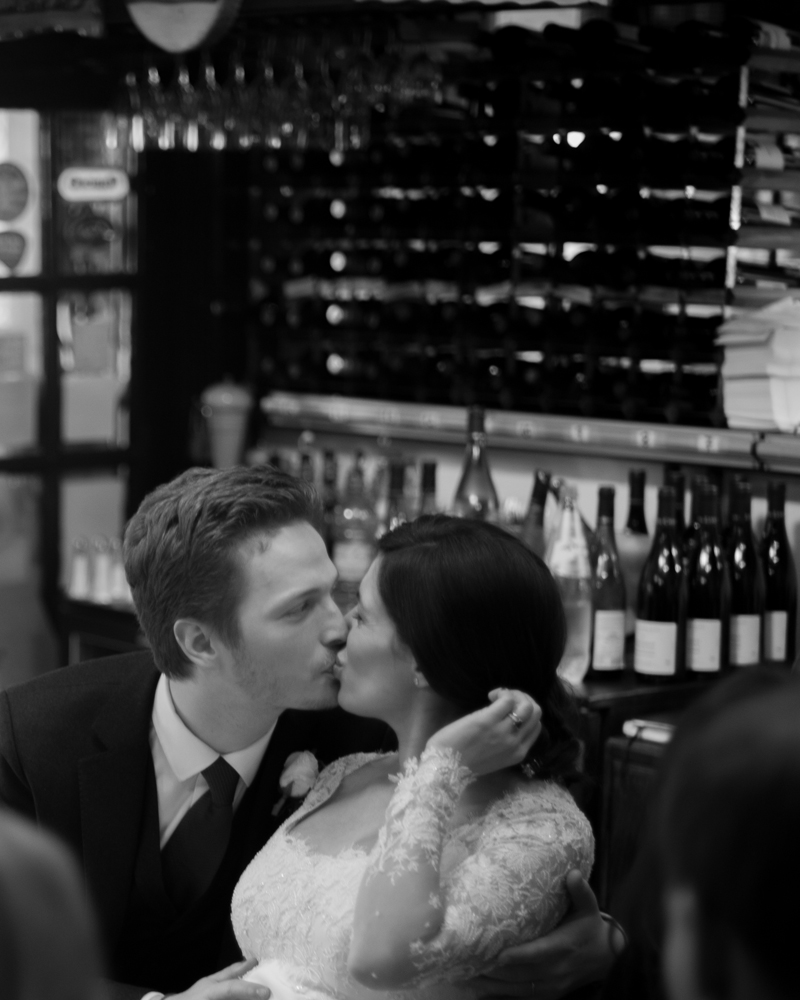 Bride and groom at El Gaucho restaurant. Chelsea wedding photographer Wild Weddings