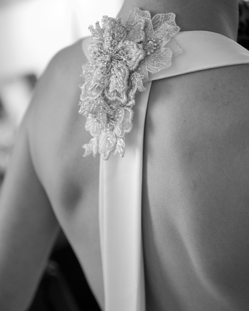 Bridal gown detail. One Whitehall Place. wedding photographer Wild Weddings