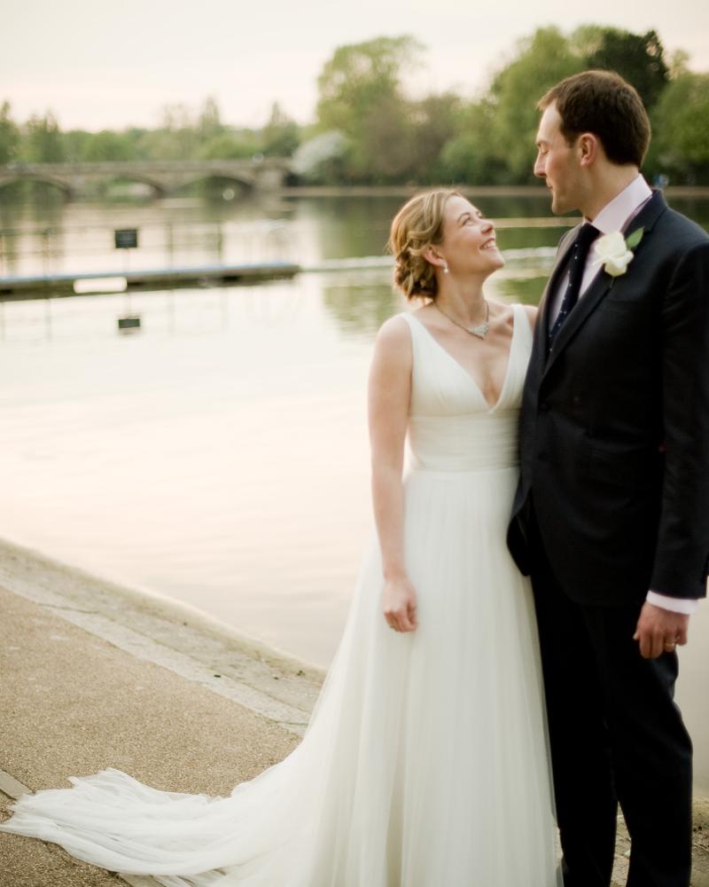 Bride and groom at The Serpentine. Knightsbridge wedding photographer Wild Weddings