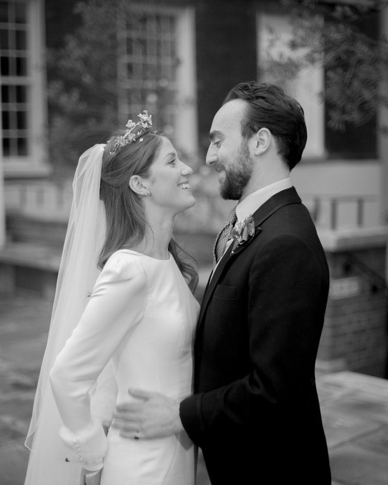 Bride & groom on the terrace. Skinners' Hall wedding photographer Wild Weddings