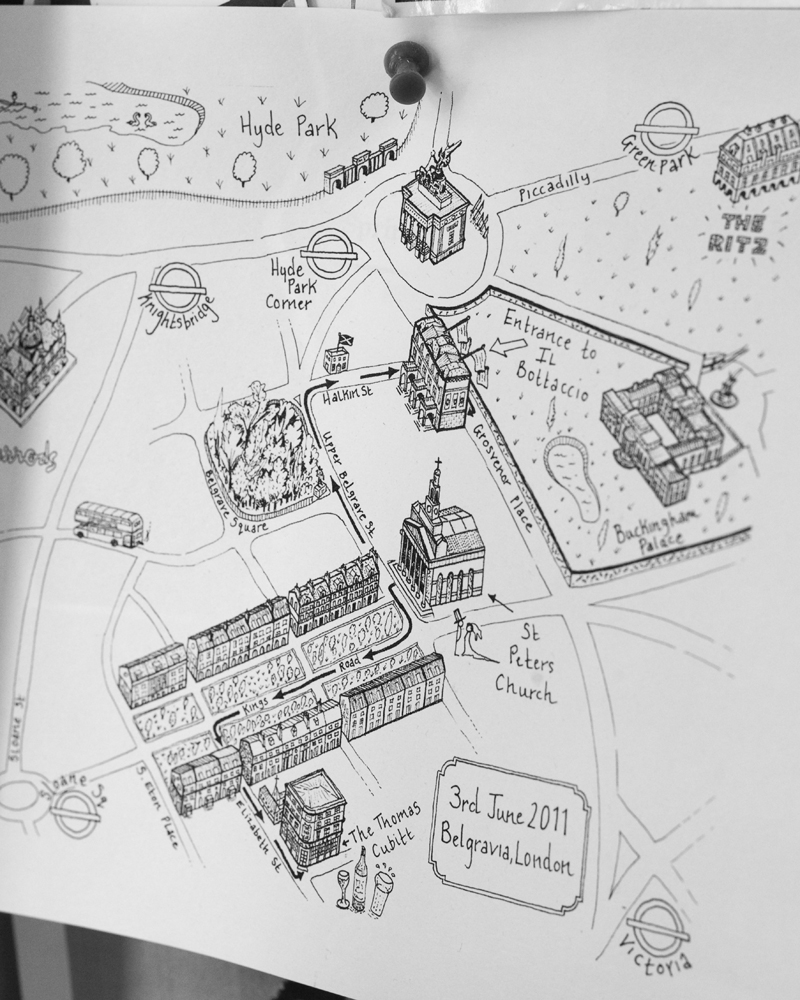 Hand drawn map, Belgravia, St Peter's Church Eaton Square, London W1 Wedding photographer Wild Weddings