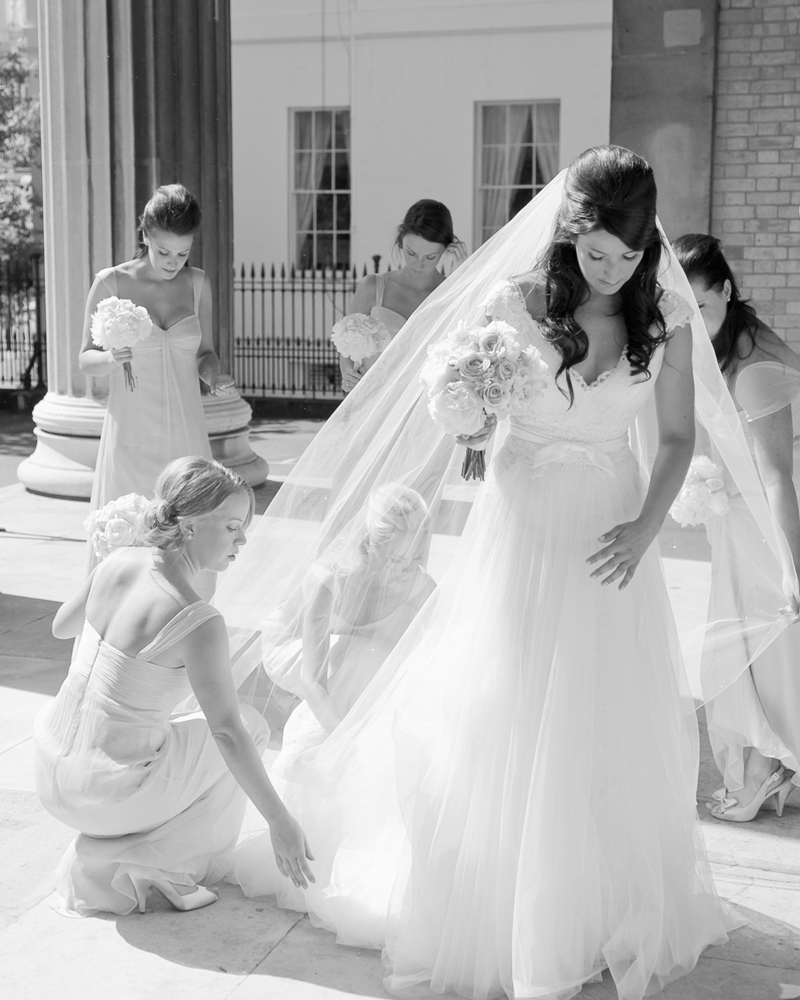 Bride and Bridesmaids, St Peter's Church Eaton Square, London W1 Wedding photographer Wild Weddings